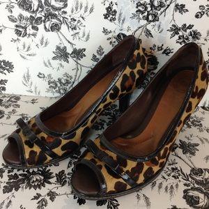Nurture Sandee Leopard Mohair Peep Toe Heels 7.5